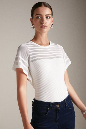 Ivory Petite Sheer Stripe Frill Knitted Top