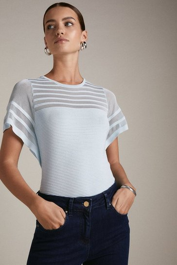 Pale blue Petite Sheer Stripe Frill Knitted Top