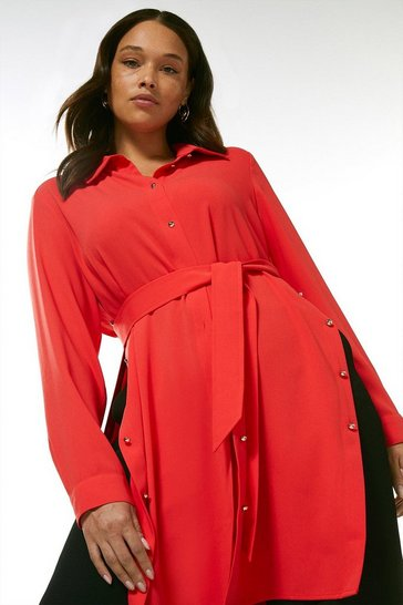 Coral Curve Relaxed Side Button Shirt Dress