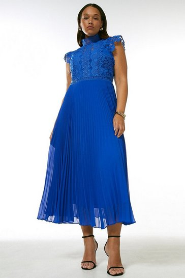 Cobalt Curve Lace Applique Pleat Midi Dress