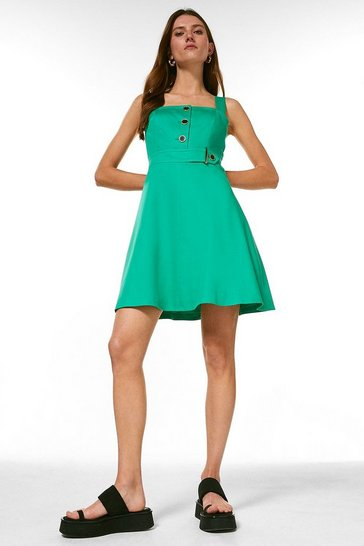 Green Square Neck Cotton Sateen A Line Dress