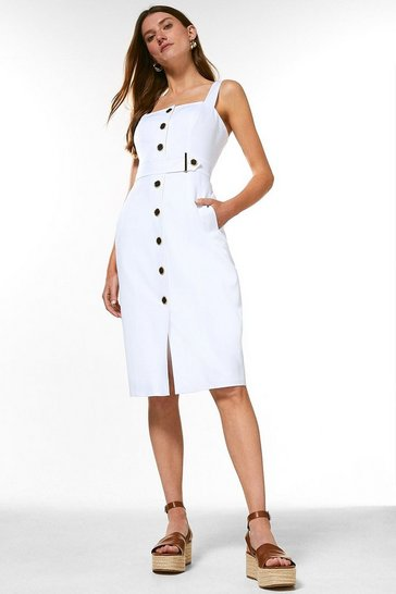 Ivory Square Neck Cotton Sateen Pencil Dress