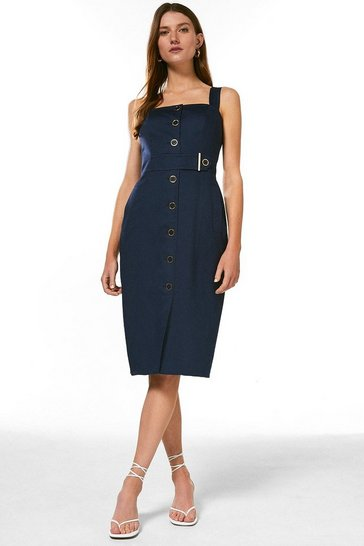 Navy Square Neck Cotton Sateen Pencil Dress