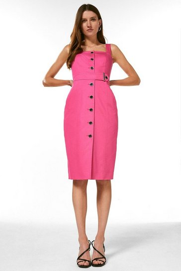Pink Square Neck Cotton Sateen Pencil Dress