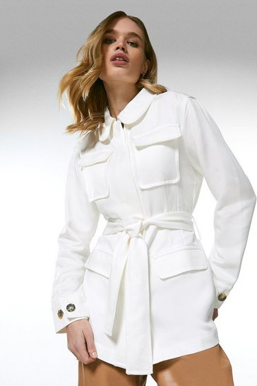 White Tencel Lightweight Pocket Tie Waist Jacket