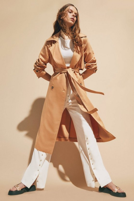 Tan Fluid Lightweight Tencel Trench