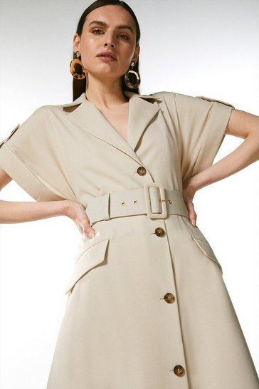 Stone Polished Wool Blend Button Utility Dress