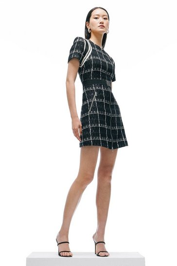 Black Linton Tweed Short Sleeve A Line Dress
