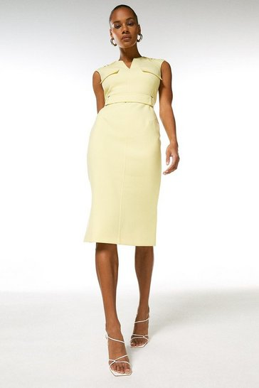 Yellow Square D Ring Pencil Dress