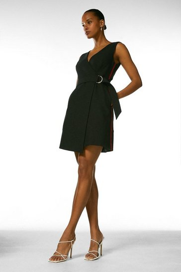 Black Side Stripe D Ring Wrap Dress