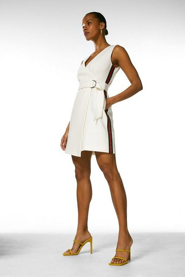 Ivory Side Stripe D Ring Wrap Dress