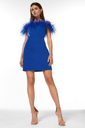 Cobalt Petite Feather Bardot Mini Dress