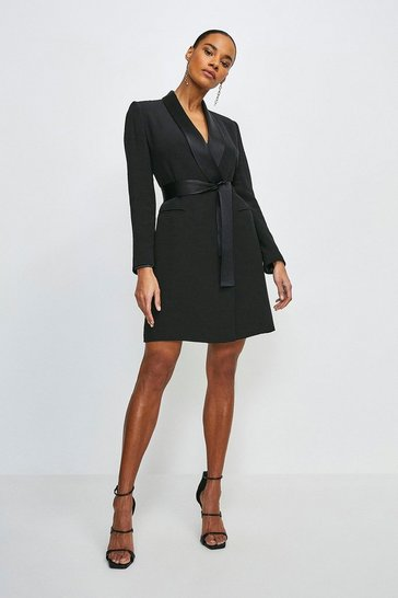 Black Petite  Tuxedo Wrap Dress