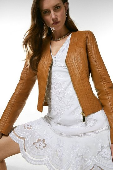 Cashew Leather Multi Stitch Jacket