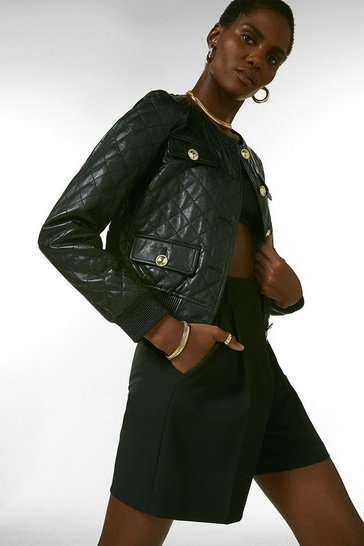 Black  Leather Quilted Bomber Jacket