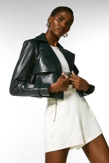 Navy Leather Cropped Trench Jacket