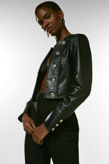 Black Leather Cropped Military Button Jacket