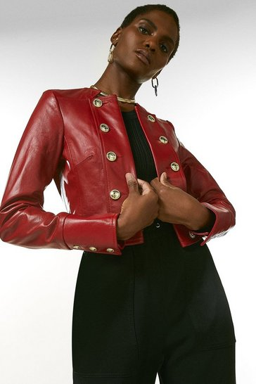 Red Leather Cropped Military Button Jacket