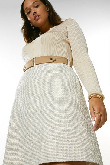 Neutral Curve Tweed And Contrast A Line Skirt