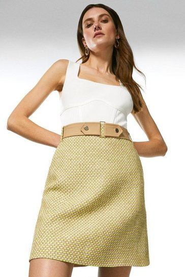 Lime Tweed And Contrast A Line Skirt