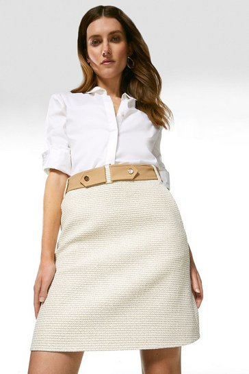 Neutral Tweed And Contrast A Line Skirt