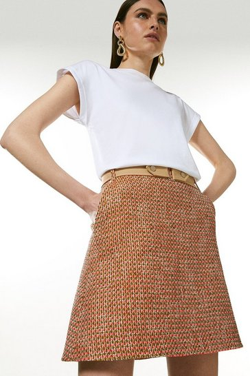 Orange Tweed And Contrast A Line Skirt