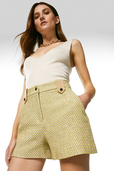 Lime Tweed Tailored Shorts