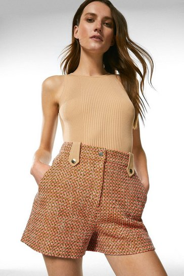 Orange Tweed Tailored Shorts