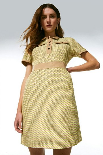 Lime Tweed And Contrast Sleeved Collar Dress