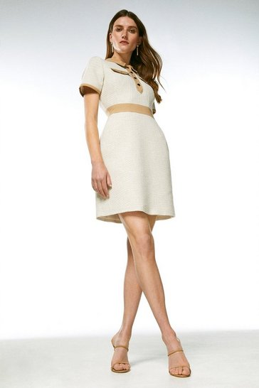Neutral Tweed And Contrast Sleeved Collar Dress