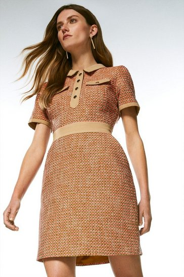 Orange Tweed And Contrast Sleeved Collar Dress