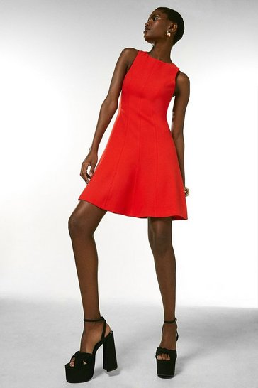 Red Compact Stretch Seamed A Line Dress