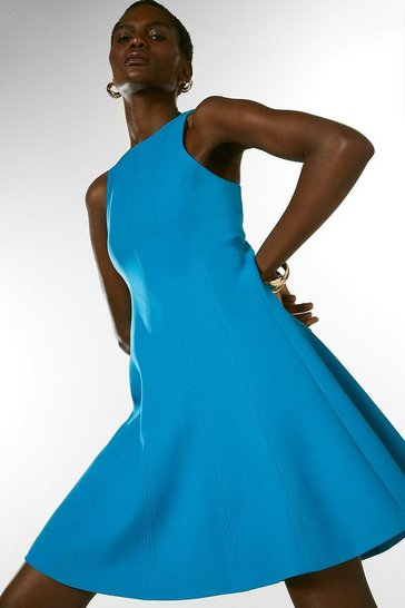 Turquoise Compact Stretch Seamed A Line Dress