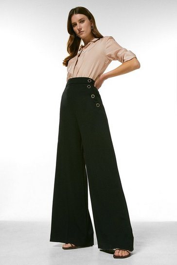 Black Relaxed Tailored Button Wide Leg Trousers