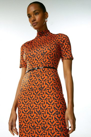 Red Jersey Belted Drape Km Logo Midi Dress
