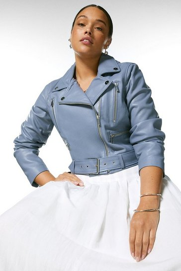 Pale blue  Curve Leather Belted  Crop Jacket