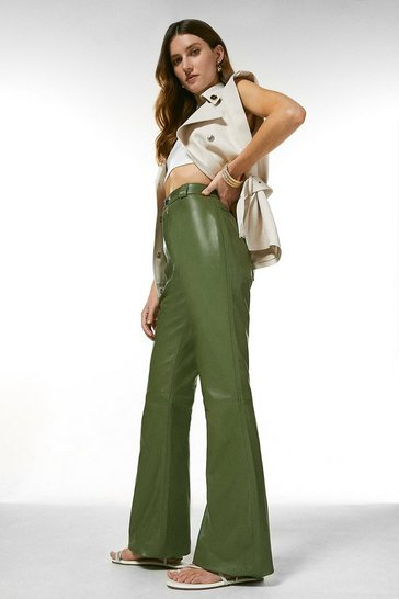 Green Leather Wide Leg Trouser