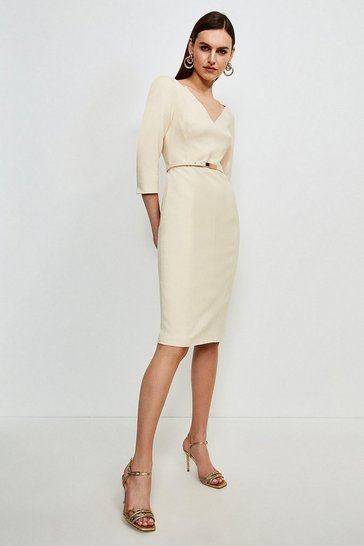 Cream Forever Bar Belt Dress