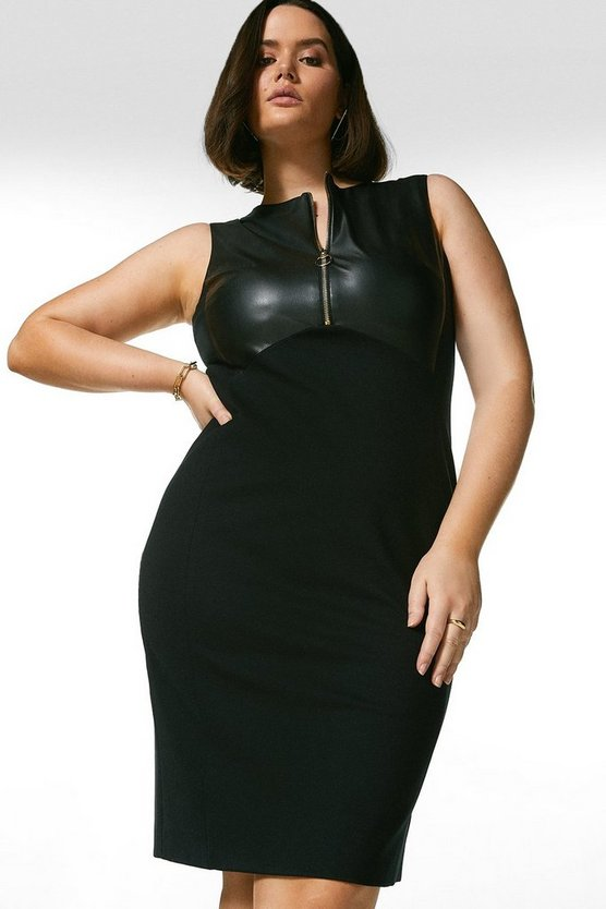 Black Curve Faux Leather Panelled Pencil Dress