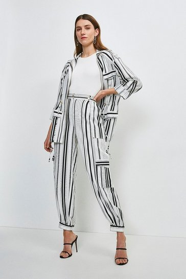 White Stripe Linen Viscose Cuffed Trouser