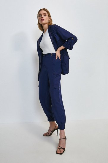 Navy Linen Viscose Cuffed Trouser