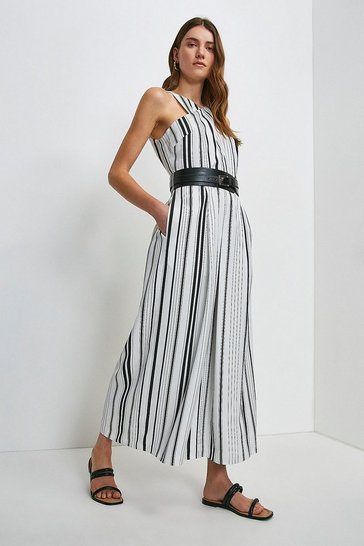 White Stripe Linen Blend Halter Jumpsuit