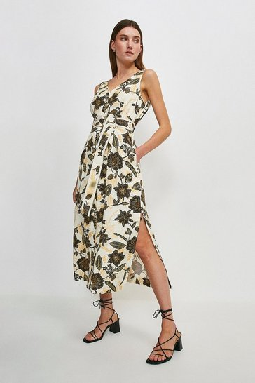 Ivory Floral Linen Viscose Button Through Dress