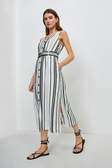 White Stripe Linen Viscose Button Through Dress