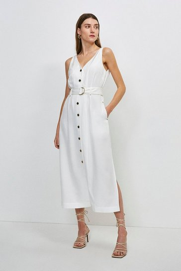 White Linen Viscose Button Through Dress