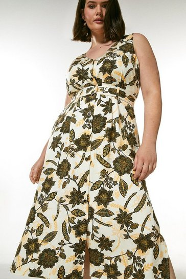 Ivory Curve Floral Linen Blend Button Through Dress
