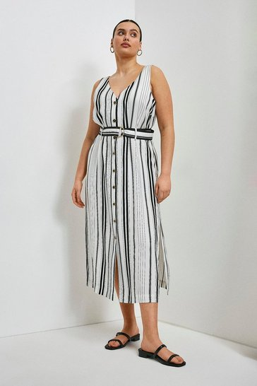 White Curve Stripe Linen Viscose Button Through Dress