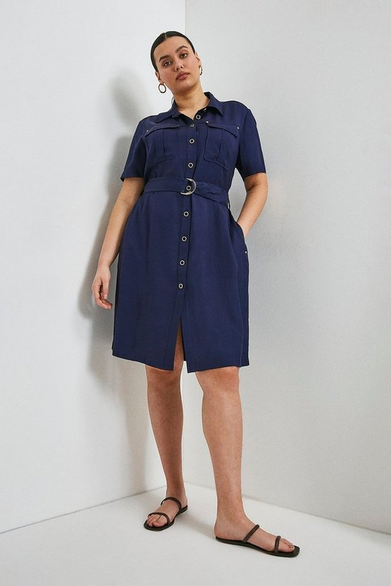 Navy Curve Linen Utility Dress