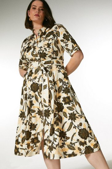 Ivory Curve Floral Linen Blend Shirt Dress