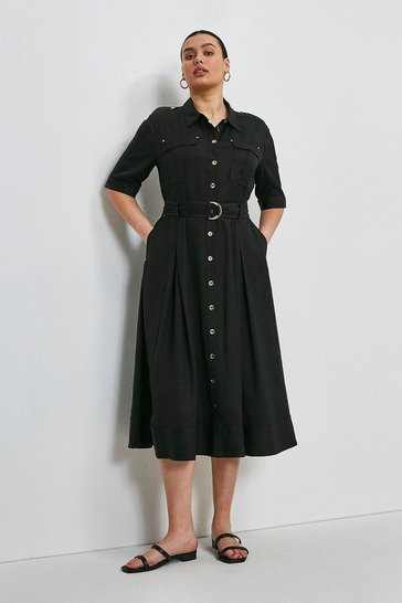 Black Curve Linen Viscose Shirt Dress
